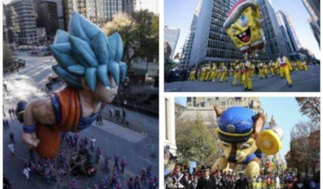 Desfile de globos gigantes en el Día de Acción de Gracias en EE.UU.