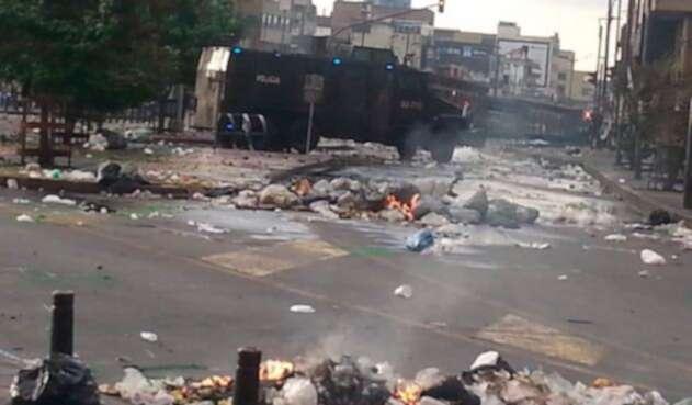 El centro de Bogotá en medio de los disturbios protagonizados por comerciantes