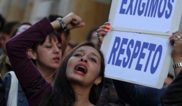 Protestas por los derechos y contra la violencia a las mujeres en Bogotá