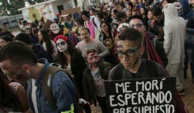 Marcha de estudiantes en Bogotá