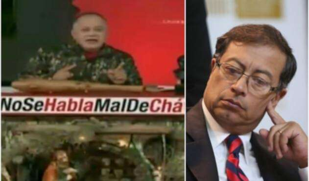Diosdado Cabello, presidente de la Asamblea Constituyente de Venezuela, en su programa. A la derecha el senador Gustavo Petro