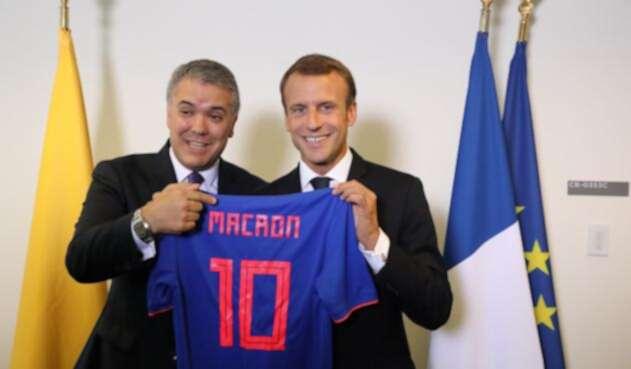 Presidentes Iván Duque y Emmanuel Macron.