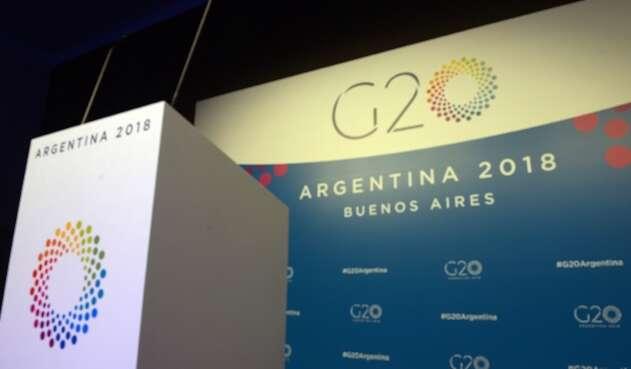 Uno de los atriles del G20 instalados en Buenos Aires (Argentina)