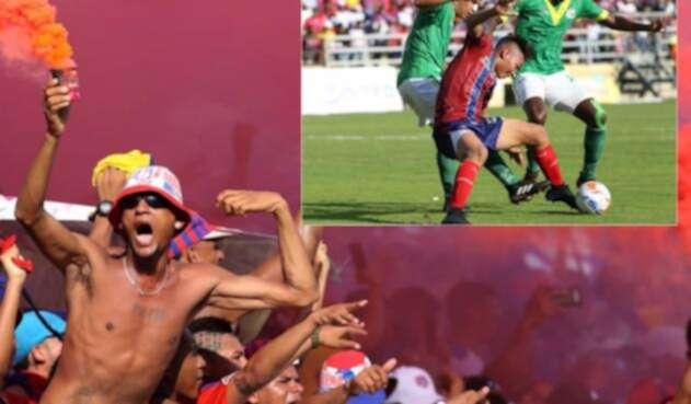 Hinchas del Unión Magdalena viendo el partido ante Quindío