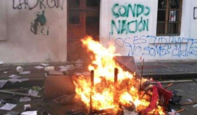 La sede del Icetex en Popayán fue atacada en medio de las protestas.