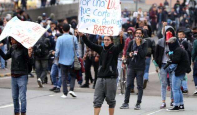 Protestas de estudiantes en Bogotá
