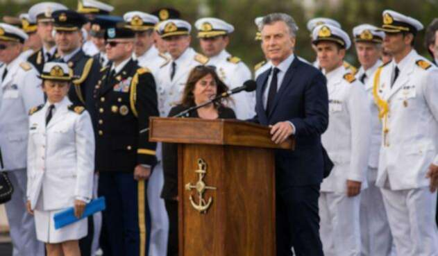 Mauricio Macri, presidente de Argentina, hablando en Mar del Plata del Ara San Juan
