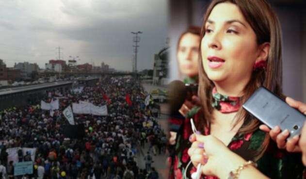 Marchas estudiantiles (izq) y la ministra de Educación, María Victoria Angulo (der)
