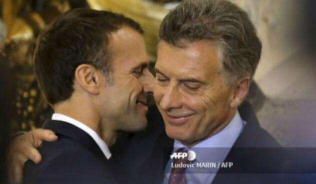 Los presidentes de Francia,Emmanuel Macron, y de Argentina, Mauricio Macri.