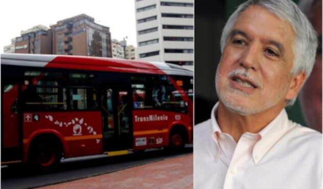 Los articulados de Transmilenio y Enrique Peñalosa, alcalde de Bogotá