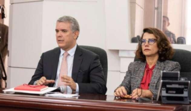 Presidente Iván Duque y la ministra del Interior Nancy Patricia Gutiérrez
