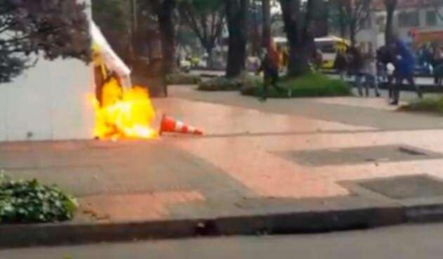 Óscar Ballesteros, patrullero herido durante las protestas en Bogotá