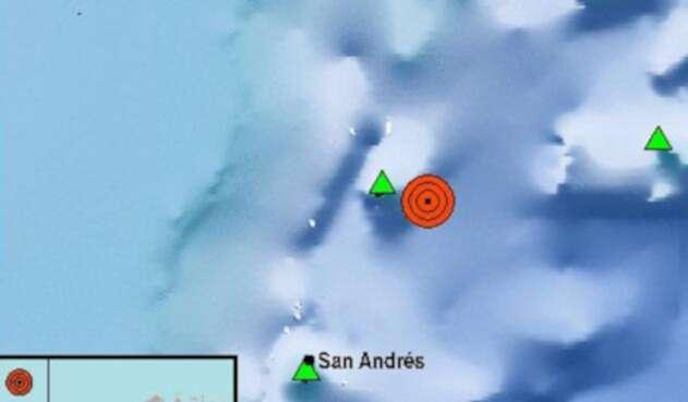 Registro del sismo en San Andrés en la noche del 25 de noviembre de 2018