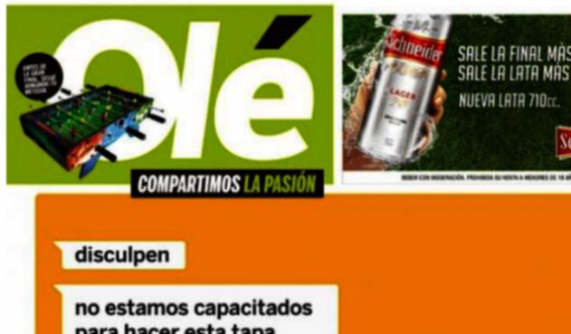 Parte de la portada de Olé previo a la final de Libertadores entre Boca y River