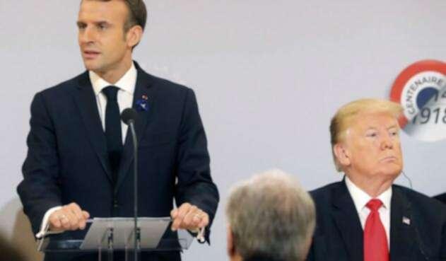 Los presidentes Emmanuel Macron y Donald Trump
