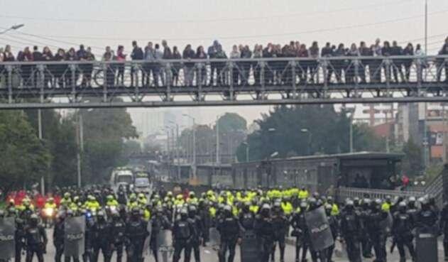 Así se desarrolla las marchas en Bogotá