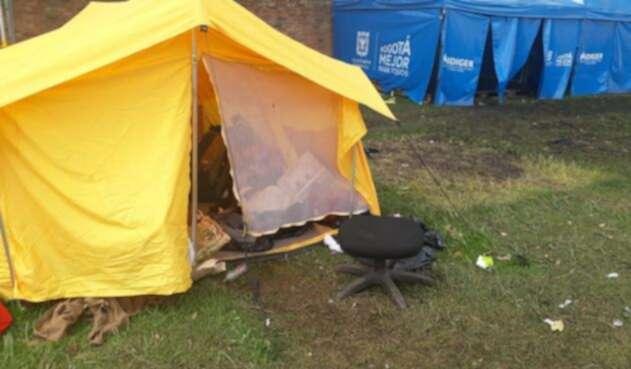 Campamento de venezolanos donde hubo desórdenes