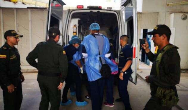 Traslado de policía herido en Maicao