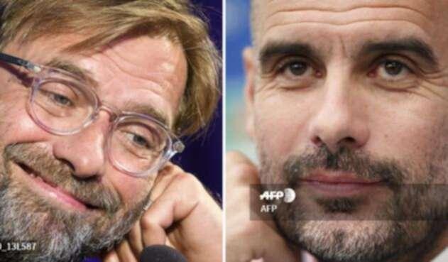 Los entrenadores Jurgen Klopp y Pep Guardiola