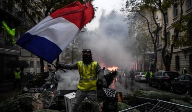 Protesta de chalecos amarillos en Francia.
