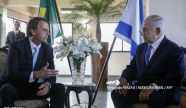 Jair Bolsonaro junto a Benjamín Netanyahu