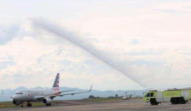 El vuelo de American Airlines llegando a Pereira, procedente de Miami
