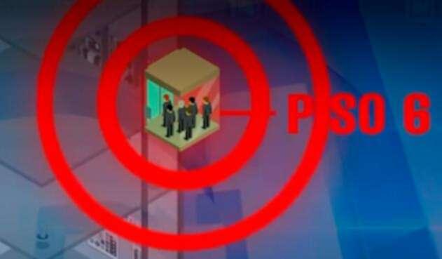 Ilustración de las seis personas que estaban dentro del ascensor, en el Palacio de Justicia de Cali