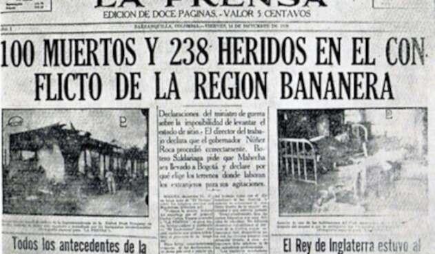 Periódico que registró la noticia de la masacre