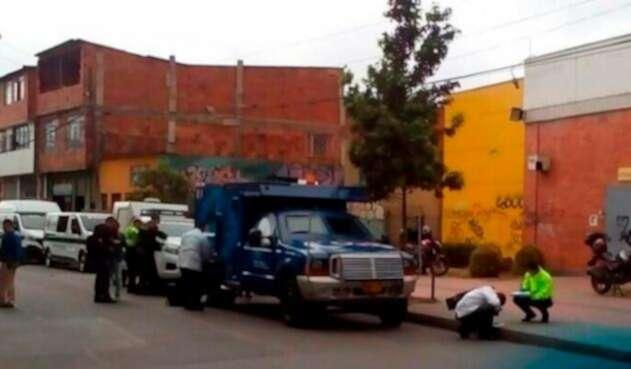 El carro de valores asaltado en Bosa, sur de Bogotá