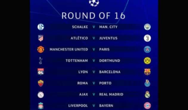 Así quedaron los octavos de final de la Champions League 2018-2019