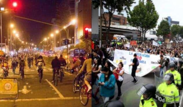 Ciclovía y marchas estudiantiles en Bogotá