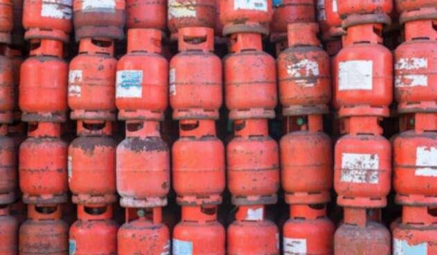 Gas en cilindro para los hogares.