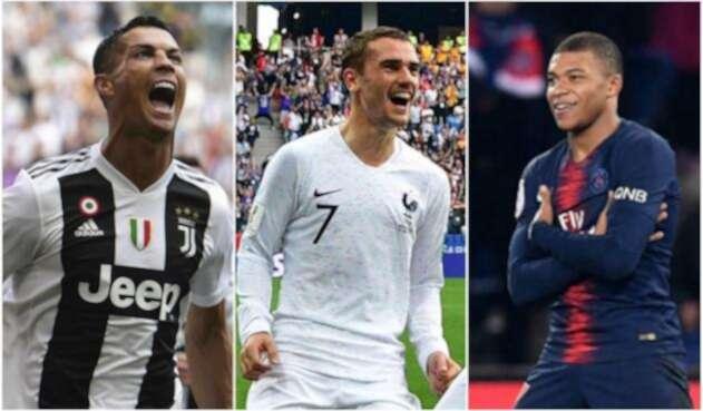 Cristiano Ronaldo, Antoine Griezmann y Kylian Mbappe