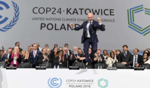 El presidente de la COP24, el polaco Michal Kurtyka, al término del Acuerdo de París, enKatowice (Polonia)