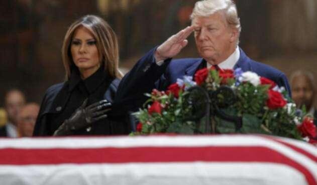 Donald Trump asistieron a los actos fúnebres del expresidente George H.W. Bush.