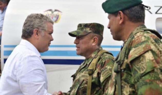 Iván Duque acompañado de las Fuerzas Militares en Tumaco