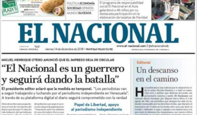 La última portada de la edición impresa del diario El Nacional, de Venezuela