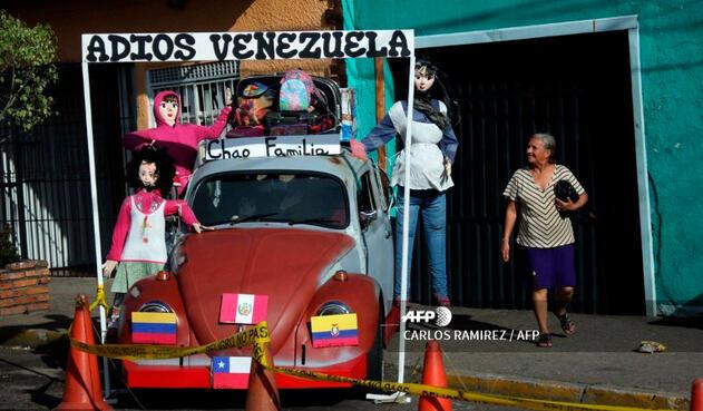 Los muñecos de año viejo en Táchira, estado fronterizo con Colombia