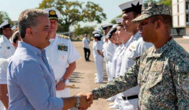 El presidente Iván Duque en la Escuela Naval de Cadetes de Cartagena
