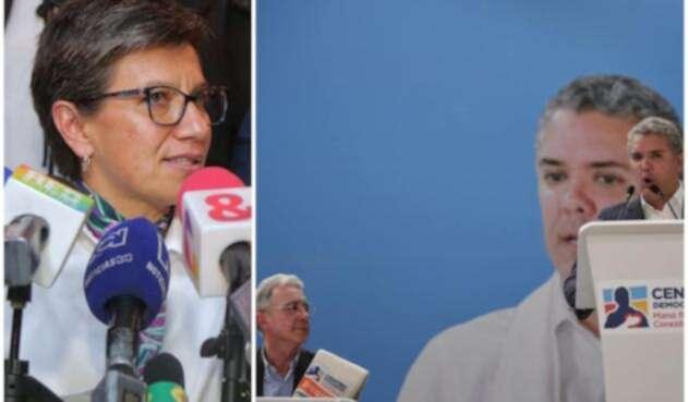 Claudia López e Iván Duque