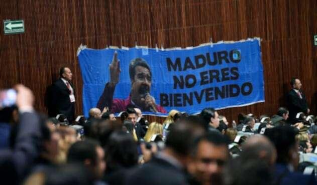 La valla puesta contra Nicolás Maduro en el Congreso de la Unión de Ciudad de México, órgano depositario del Poder Legislativo Federal