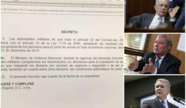 El decreto que publicó el expresidente Álvaro Uribe en su cuenta en Twitter. A la derecha el exmandatario, el ministro de Defensa Guillermo Botero y el presidente Iván Duque