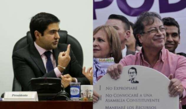 Samuel Hoyos y Gustavo Petro, enfrentados por el polémico video.