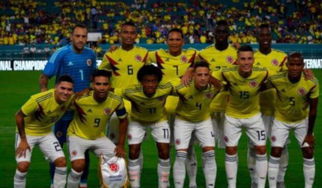 La Selección Colombia cuando venció 2-1 a Venezuela en juego amistoso que se cumplió en el estadio Hard Rock, en Miami (Estados Unidos), el 7 de septiembre de 2018