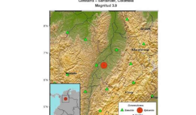 Servicio geológico colombiano reportó sismo en Santander.