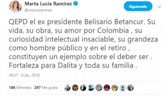 Mensaje de Marta Lucía Ramirez