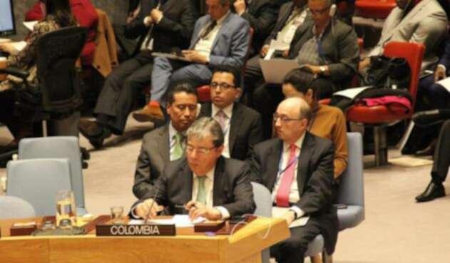 El canciller colombiano, Carlos Holmes Trujillo, en el Consejo de Seguridad de la ONU