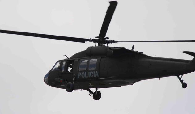 Helicóptero de la Policía - Carro Bomba en Escuela General Santander