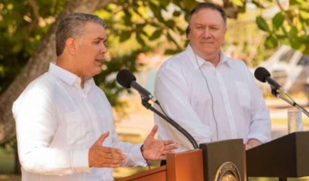 Iván Duque y Mike Pompeo en su visita a Cartagena