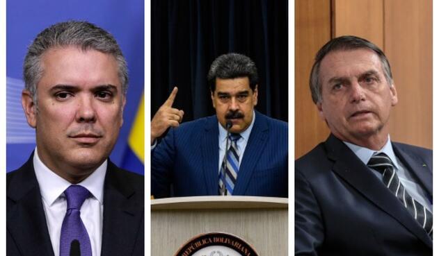 Iván Duque, Nicolás Maduro y Jair Bolsonaro